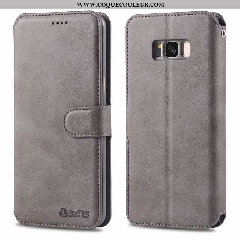 Coque Samsung Galaxy S8 Protection Incassable Carte, Housse Samsung Galaxy S8 Cuir Véritable Gris