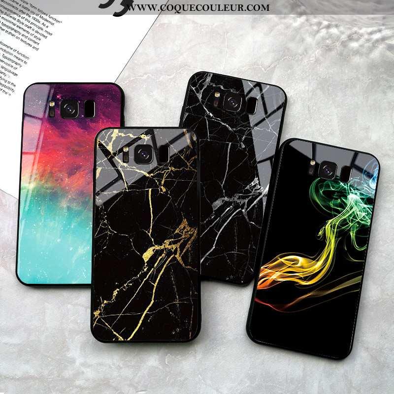 Housse Samsung Galaxy S8 Verre Étoile Créatif, Étui Samsung Galaxy S8 Personnalité Difficile Noir