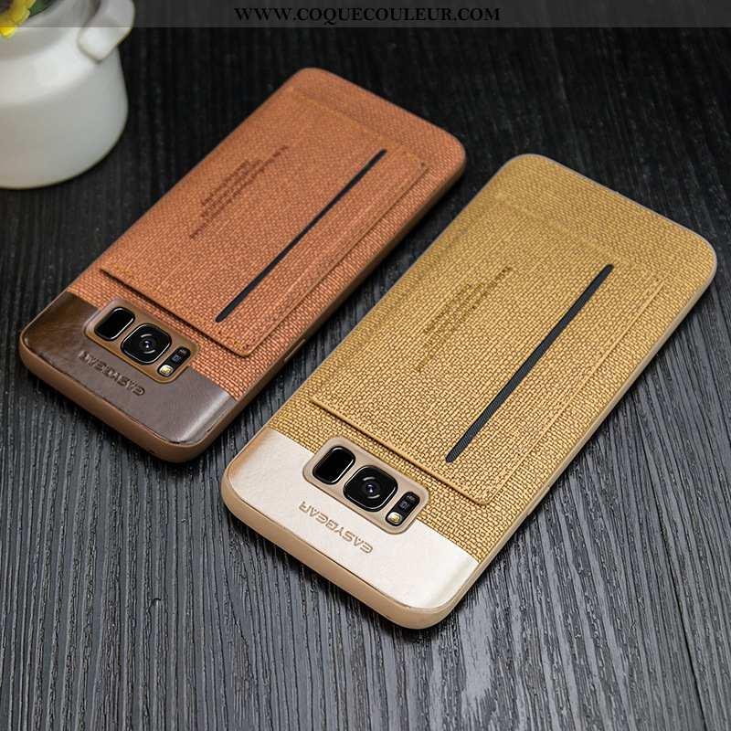 Housse Samsung Galaxy S8 Cuir Étui Jaune, Samsung Galaxy S8 Tout Compris Incassable Jaune