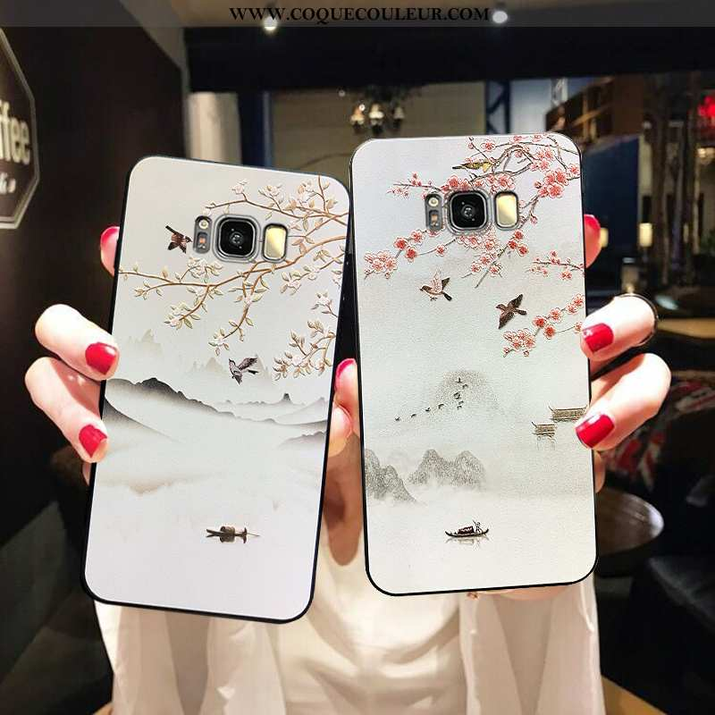 Coque Samsung Galaxy S8 Ultra Tout Compris, Housse Samsung Galaxy S8 Tendance Délavé En Daim Blanche