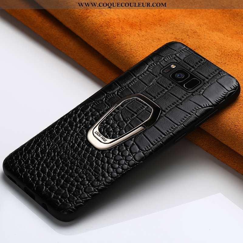 Housse Samsung Galaxy S8 Cuir Véritable Étoile Noir, Étui Samsung Galaxy S8 Cuir Support Noir