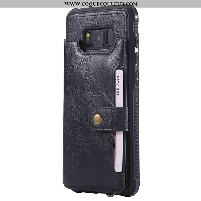 Housse Samsung Galaxy S8 Cuir Noir Sac Carte, Étui Samsung Galaxy S8 Ornements Suspendus