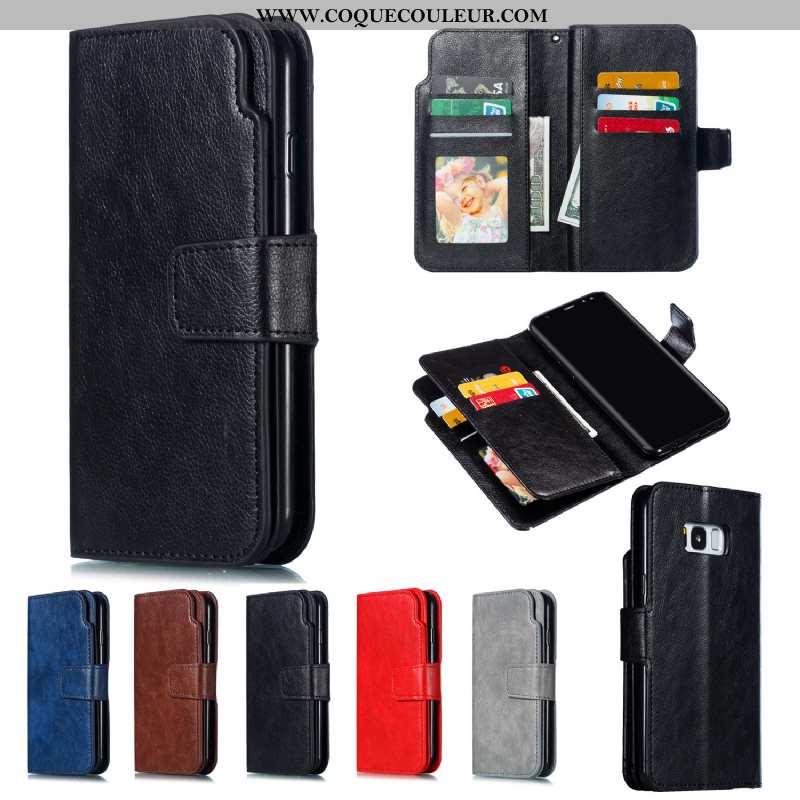 Étui Samsung Galaxy S8 Protection Coque Étui, Samsung Galaxy S8 Portefeuille Housse Noir