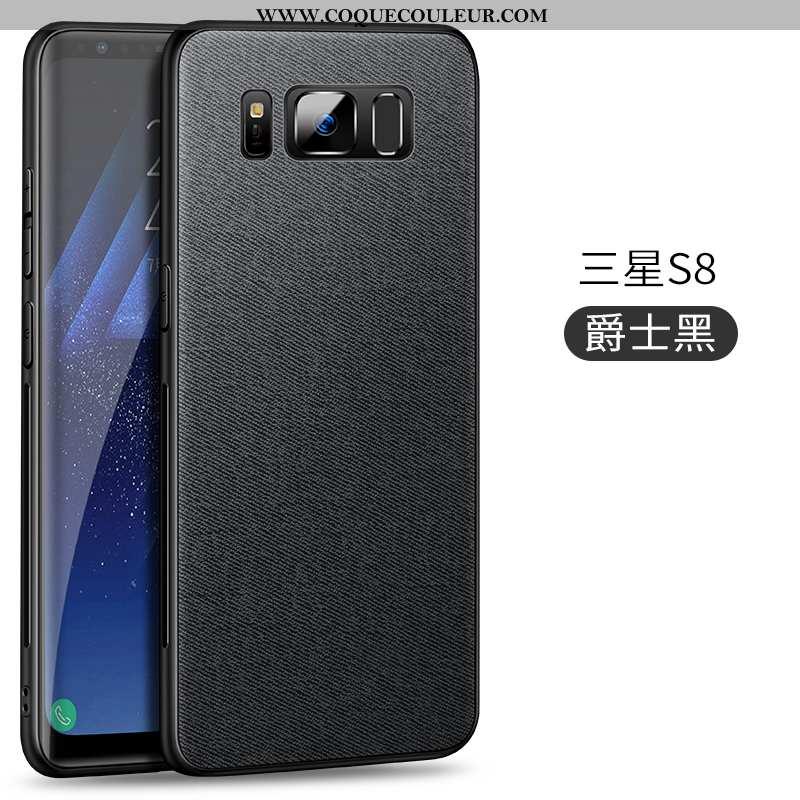 Coque Samsung Galaxy S8 Légère Étui À Bord, Housse Samsung Galaxy S8 Modèle Fleurie Pu Noir