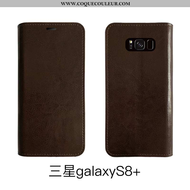 Étui Samsung Galaxy S8+ Cuir Téléphone Portable Marron, Coque Samsung Galaxy S8+ Protection Bovins M