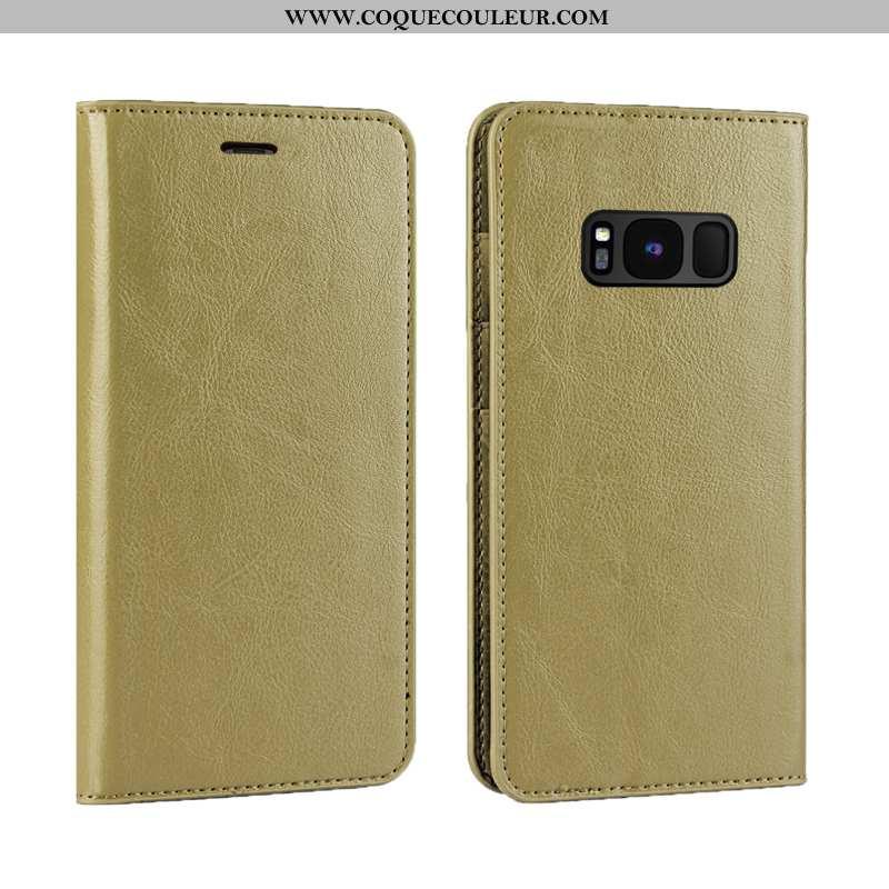Coque Samsung Galaxy S8+ Luxe Étui Business, Housse Samsung Galaxy S8+ Cuir Véritable Doré