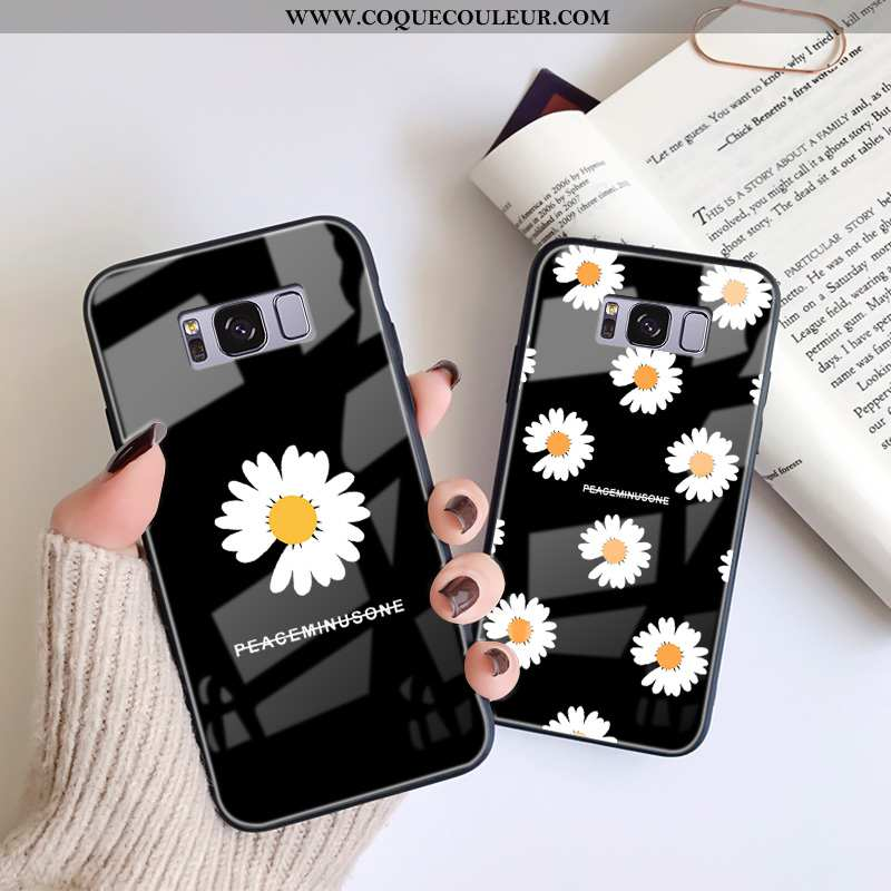Housse Samsung Galaxy S8+ Dessin Animé Verre Téléphone Portable, Étui Samsung Galaxy S8+ Charmant Pe