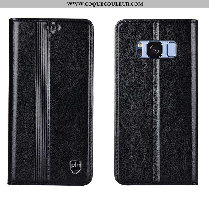 Housse Samsung Galaxy S8+ Cuir Véritable Incassable Noir, Étui Samsung Galaxy S8+ Cuir Coque Noir