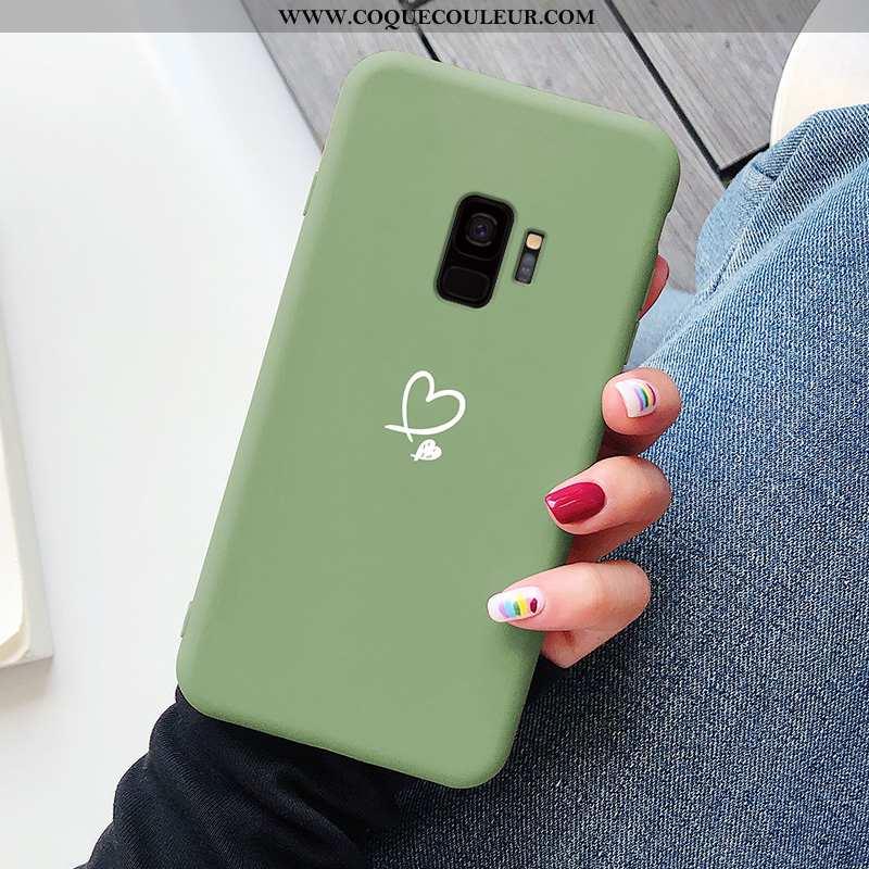 Housse Samsung Galaxy S9 Protection Vert Simple, Étui Samsung Galaxy S9 Personnalité Coque Verte