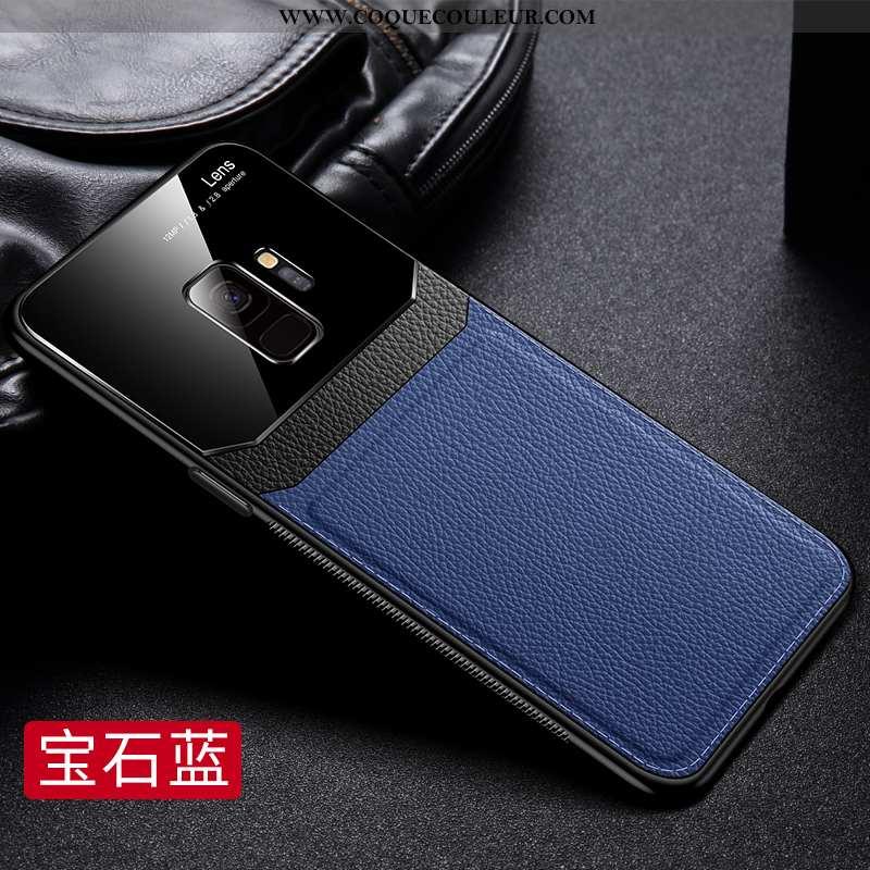 Coque Samsung Galaxy S9 Légère Protection Étoile, Housse Samsung Galaxy S9 Cuir Net Rouge Bleu