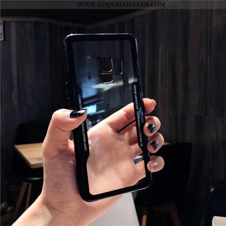 Coque Samsung Galaxy S9 Protection Étoile, Housse Samsung Galaxy S9 Verre Téléphone Portable Noir