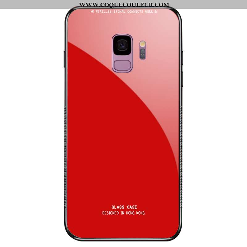 Coque Samsung Galaxy S9 Protection Rouge, Housse Samsung Galaxy S9 Verre Tempérer Rouge