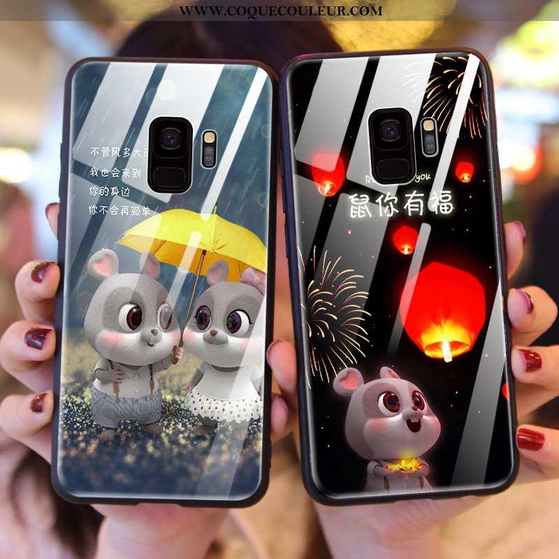 Étui Samsung Galaxy S9 Verre Rat Incassable, Coque Samsung Galaxy S9 Créatif Noir