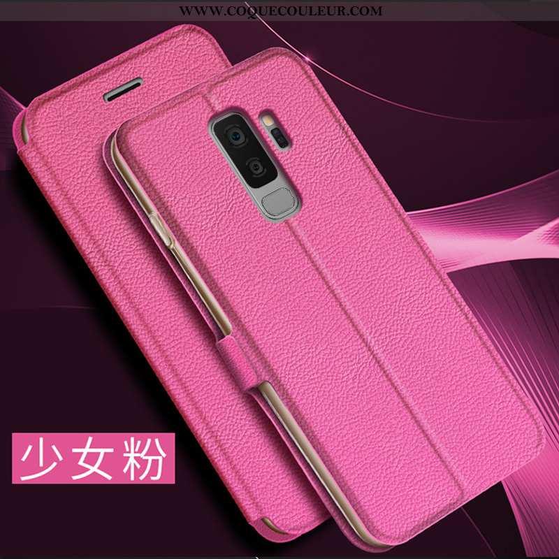 Housse Samsung Galaxy S9+ Cuir Simple Coque, Étui Samsung Galaxy S9+ Protection Incassable Rose