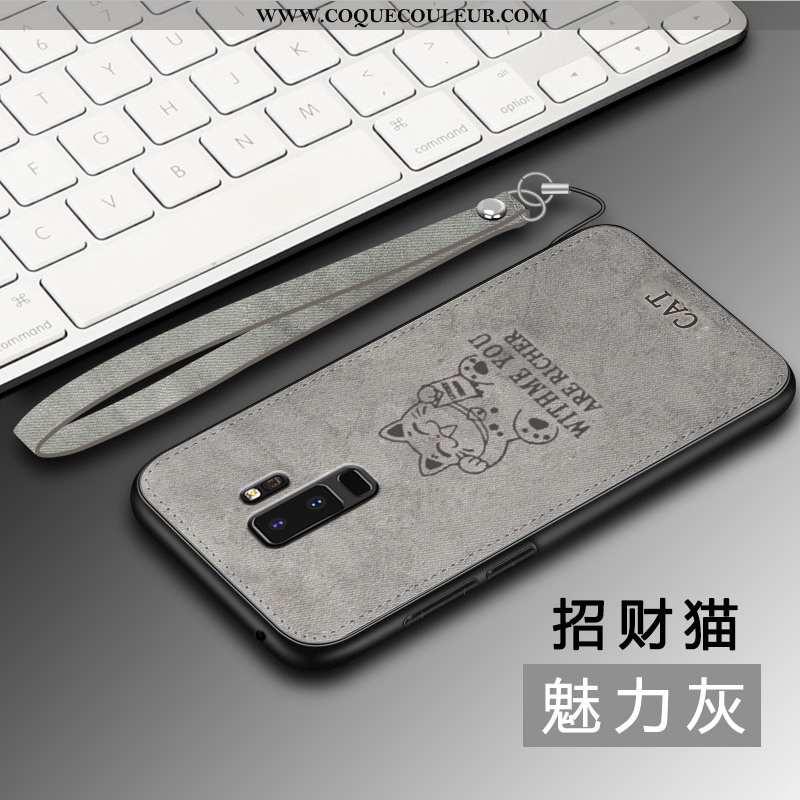Coque Samsung Galaxy S9+ Fluide Doux Net Rouge Tout Compris, Housse Samsung Galaxy S9+ Silicone Gris
