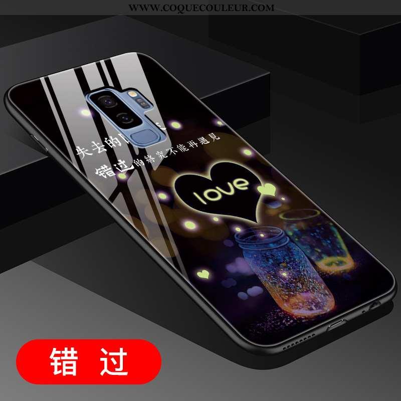 Coque Samsung Galaxy S9+ Créatif Noir Incassable, Housse Samsung Galaxy S9+ Verre Tout Compris