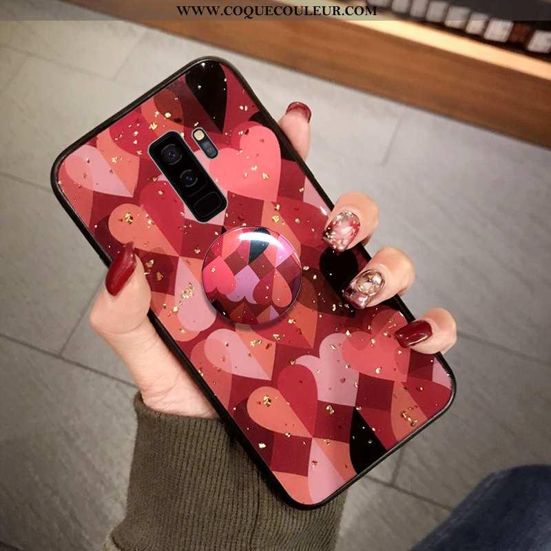 Housse Samsung Galaxy S9+ Fluide Doux Amour Étoile, Étui Samsung Galaxy S9+ Protection Coque Rouge