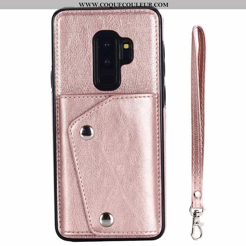 Coque Samsung Galaxy S9+ Ornements Suspendus Rose Cuir, Housse Samsung Galaxy S9+ Portefeuille Nouve