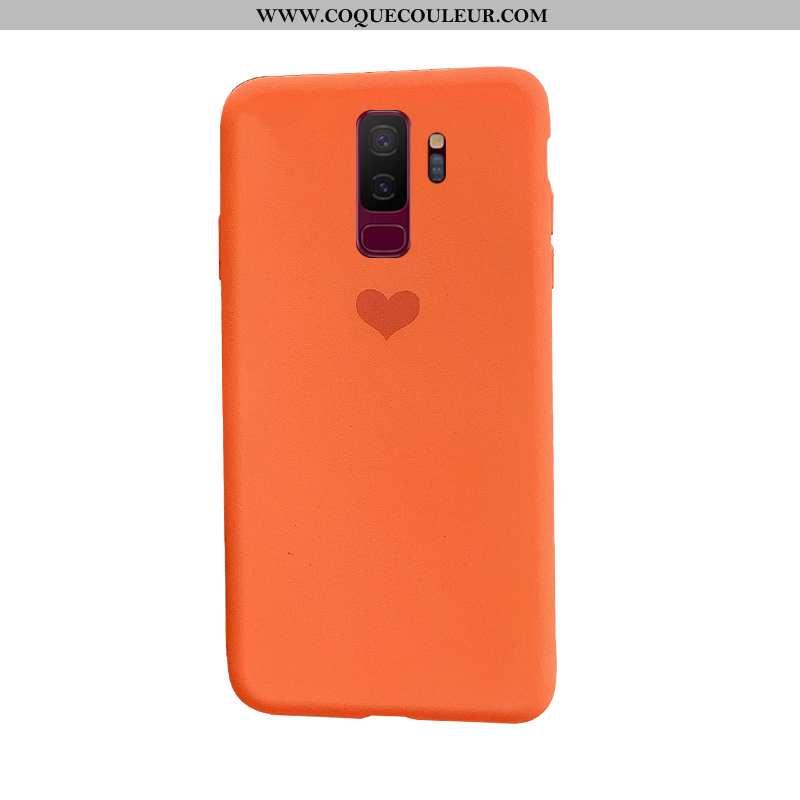 Étui Samsung Galaxy S9+ Protection Orange Silicone, Coque Samsung Galaxy S9+ Tendance Simple
