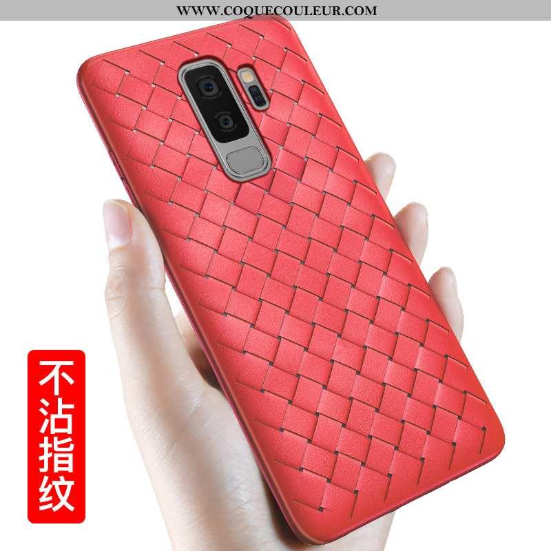 Coque Samsung Galaxy S9+ Fluide Doux Rouge Étoile, Housse Samsung Galaxy S9+ Silicone Modèle Fleurie