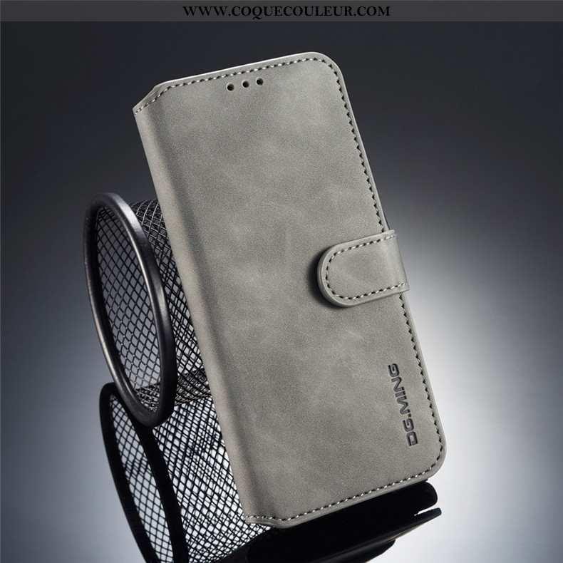 Coque Samsung Galaxy S9+ Cuir Étui Coque, Housse Samsung Galaxy S9+ Protection Gris