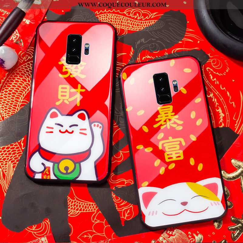 Étui Samsung Galaxy S9+ Silicone Coque Chat, Samsung Galaxy S9+ Protection Richesse Rouge