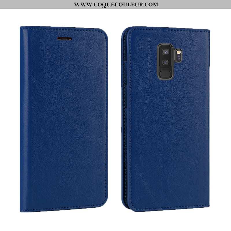 Étui Samsung Galaxy S9+ Luxe Clamshell Téléphone Portable, Coque Samsung Galaxy S9+ Cuir Véritable B