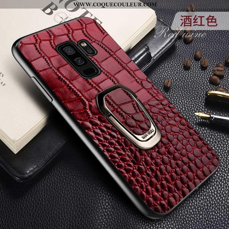 Housse Samsung Galaxy S9+ Cuir Véritable Étui Coque, Samsung Galaxy S9+ Cuir Support Rouge