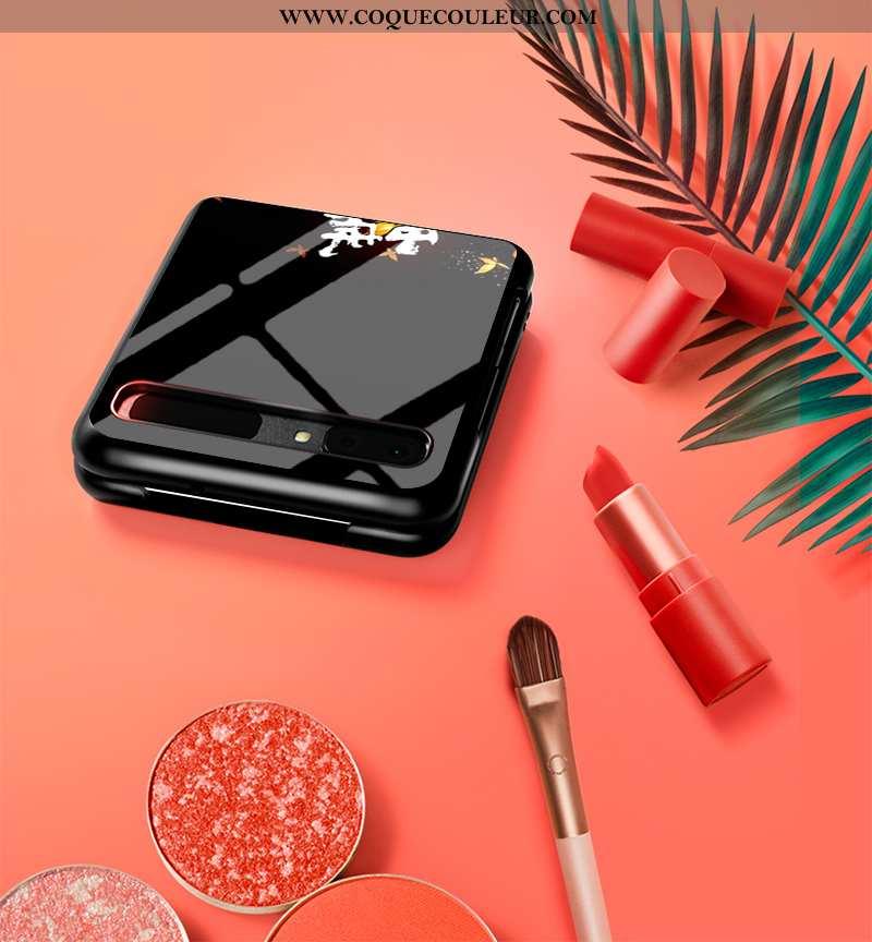 Housse Samsung Z Flip Protection Noir Difficile, Étui Samsung Z Flip Verre Amoureux