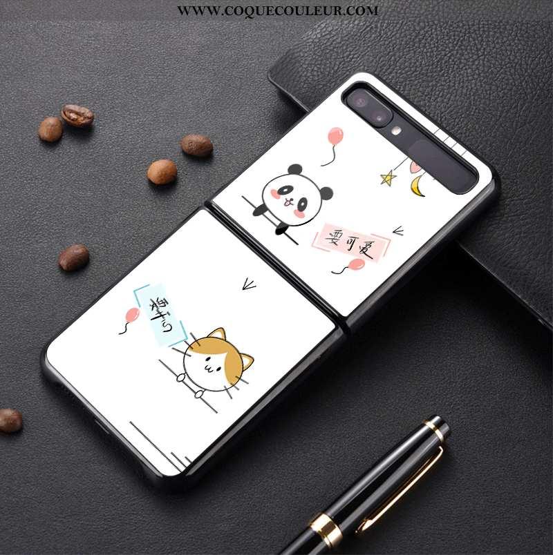 Coque Samsung Z Flip Verre Personnalisé Protection, Housse Samsung Z Flip Dessin Animé Plier Blanche