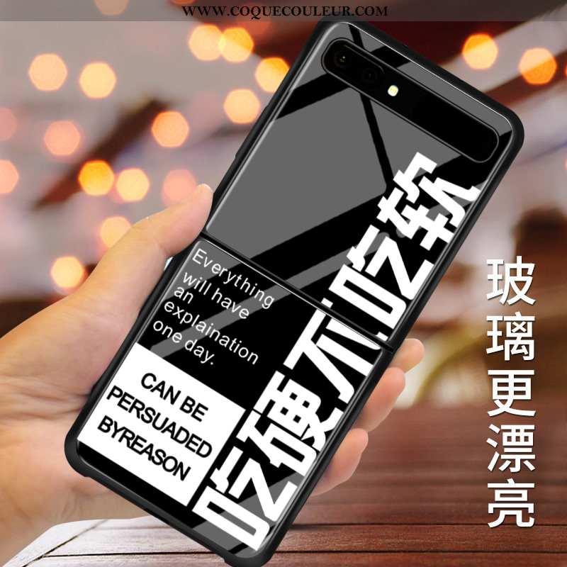 Housse Samsung Z Flip Protection Nouveau Incassable, Étui Samsung Z Flip Verre Personnalisé Noir