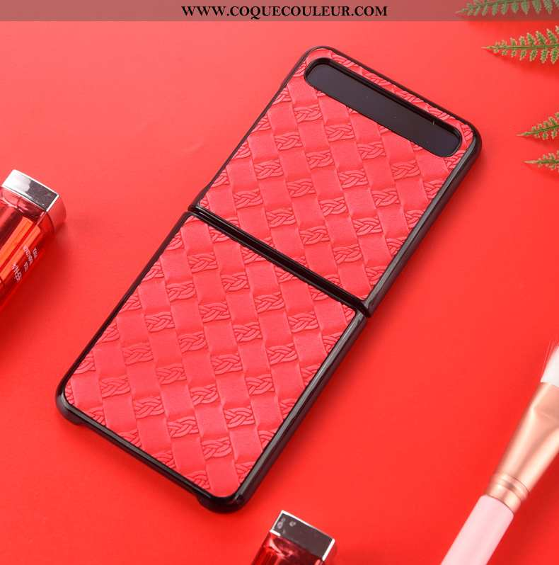 Housse Samsung Z Flip Cuir Étoile Véritable, Étui Samsung Z Flip Protection Rouge