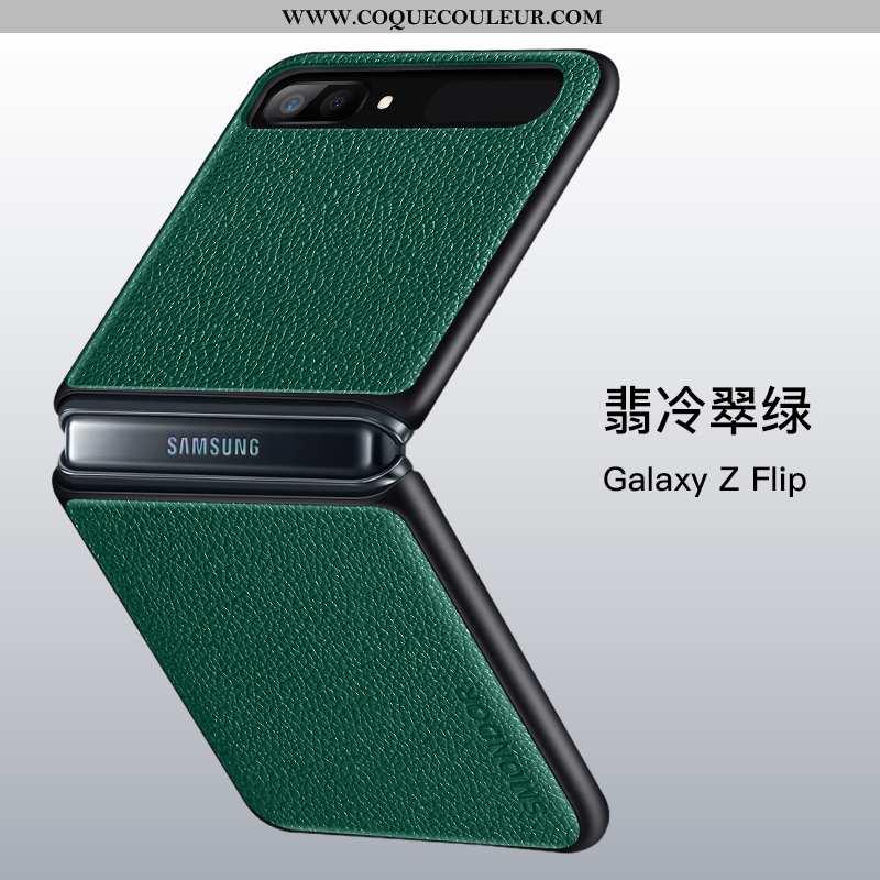 Housse Samsung Z Flip Silicone Vert Cuir, Étui Samsung Z Flip Protection Bovins Verte