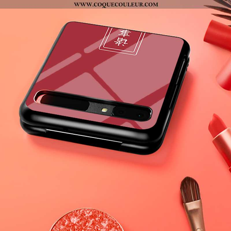 Coque Samsung Z Flip Verre Difficile Personnalisé, Housse Samsung Z Flip Personnalité Rouge