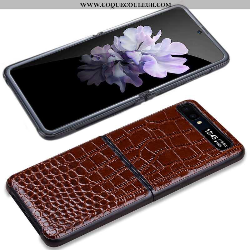 Étui Samsung Z Flip Cuir Véritable Nouveau Cuir, Coque Samsung Z Flip Portefeuille Marron