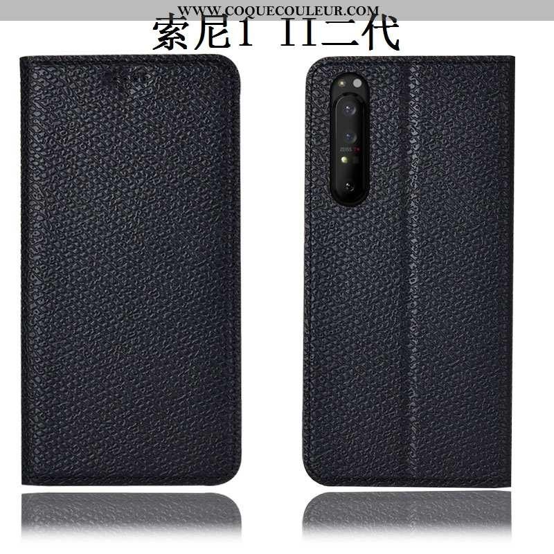Coque Sony Xperia 1 Ii Protection Modèle Fleurie, Housse Sony Xperia 1 Ii Cuir Véritable Étui Noir