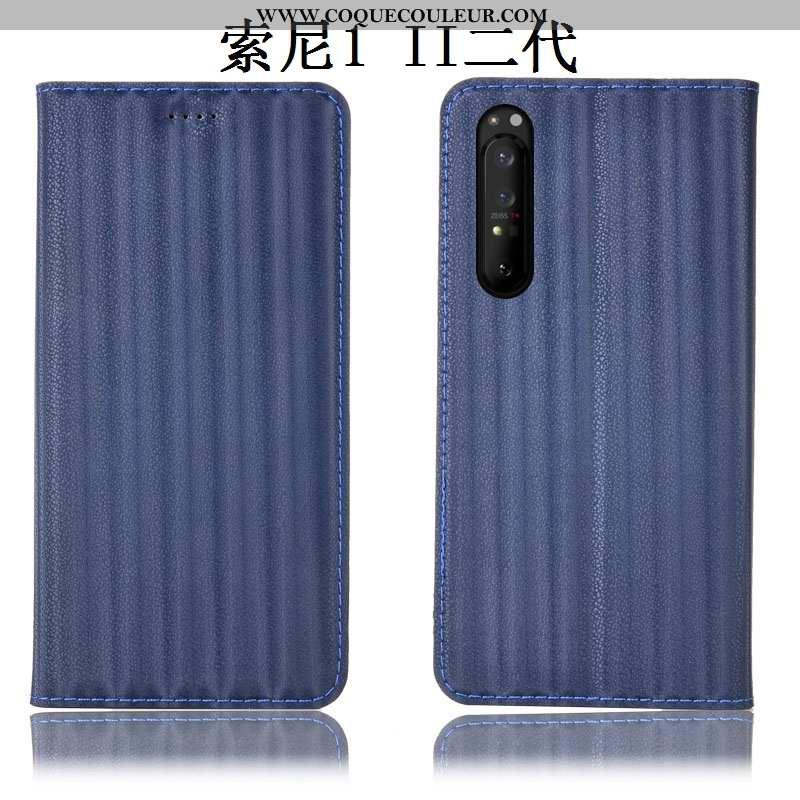 Étui Sony Xperia 1 Ii Cuir Véritable Dégradé Housse, Coque Sony Xperia 1 Ii Protection Bleu