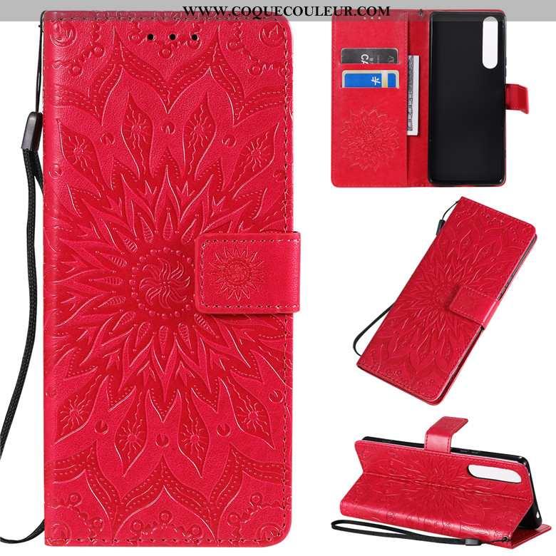 Étui Sony Xperia 1 Ii Créatif Rouge Incassable, Coque Sony Xperia 1 Ii Cuir Clamshell