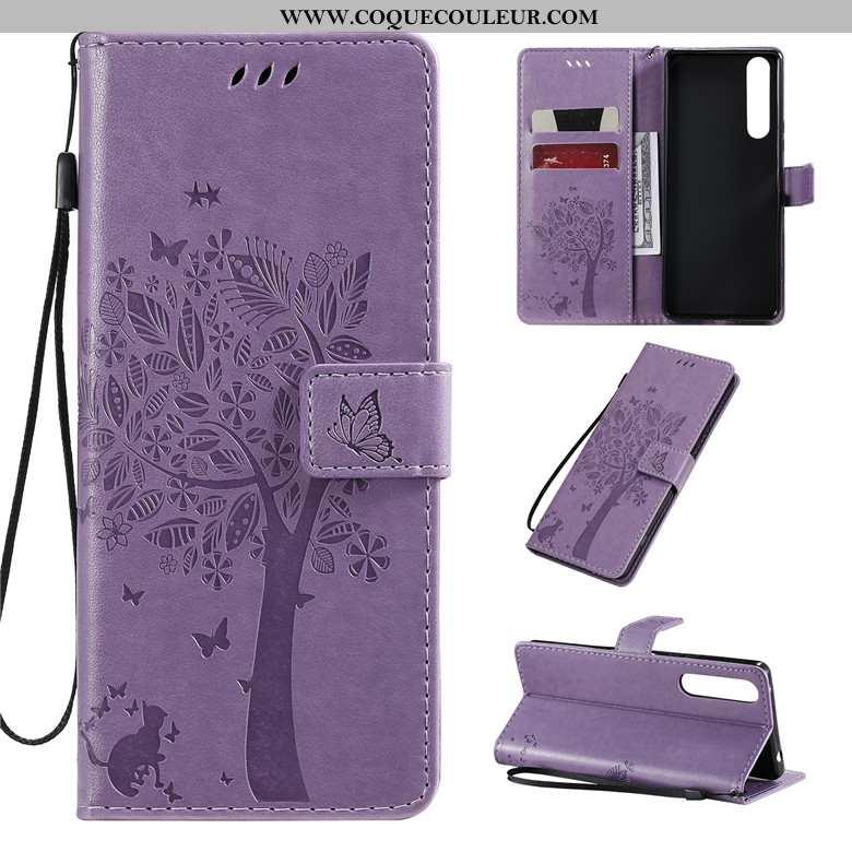 Housse Sony Xperia 1 Ii Cuir Téléphone Portable Silicone, Étui Sony Xperia 1 Ii Fluide Doux Violet