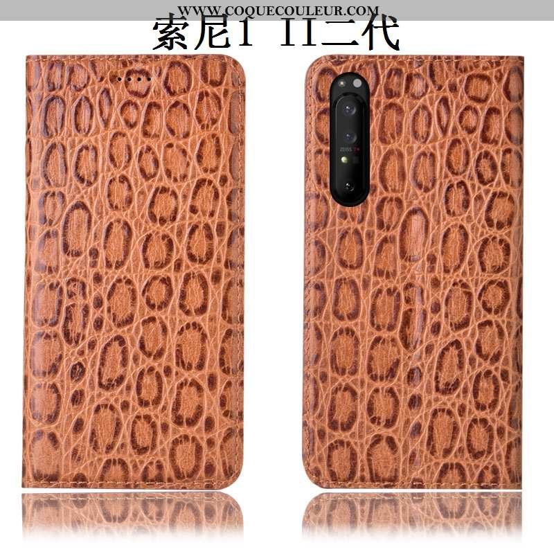 Housse Sony Xperia 1 Ii Modèle Fleurie Étui Incassable, Sony Xperia 1 Ii Protection Coque Marron
