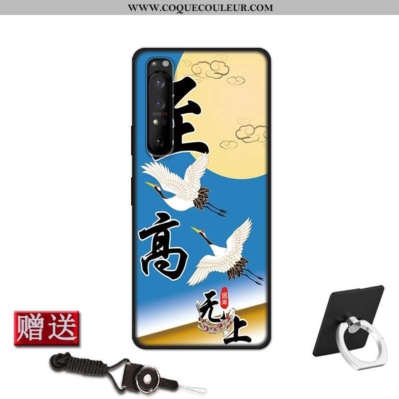 Coque Sony Xperia 1 Ii Protection Fluide Doux Étui, Housse Sony Xperia 1 Ii Délavé En Daim Bleu