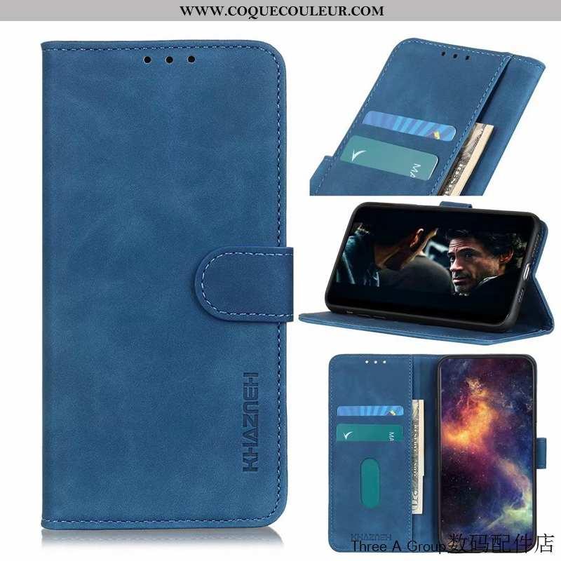 Housse Sony Xperia 1 Ii Délavé En Daim Incassable Cuir, Étui Sony Xperia 1 Ii Vintage Carte Bleu