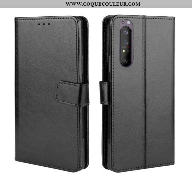Étui Sony Xperia 1 Ii Cuir Téléphone Portable Portefeuille, Coque Sony Xperia 1 Ii Protection Noir