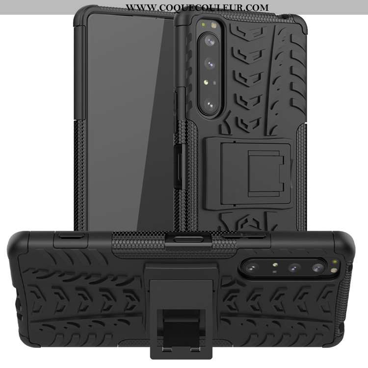 Étui Sony Xperia 1 Ii Protection Coque Noir, Sony Xperia 1 Ii Support Noir