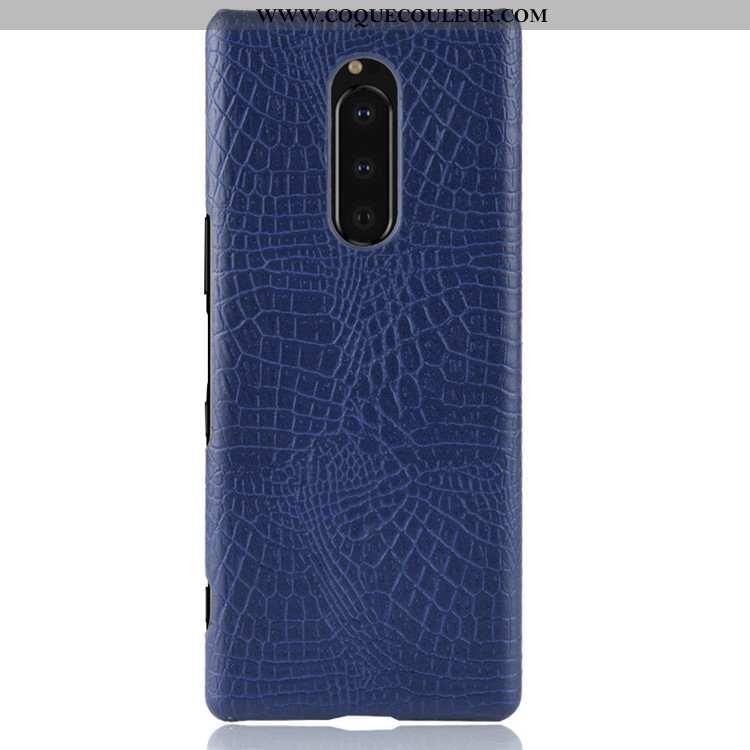 Housse Sony Xperia 1 Modèle Fleurie Bleu Marin Difficile, Étui Sony Xperia 1 Protection Tendance Ble