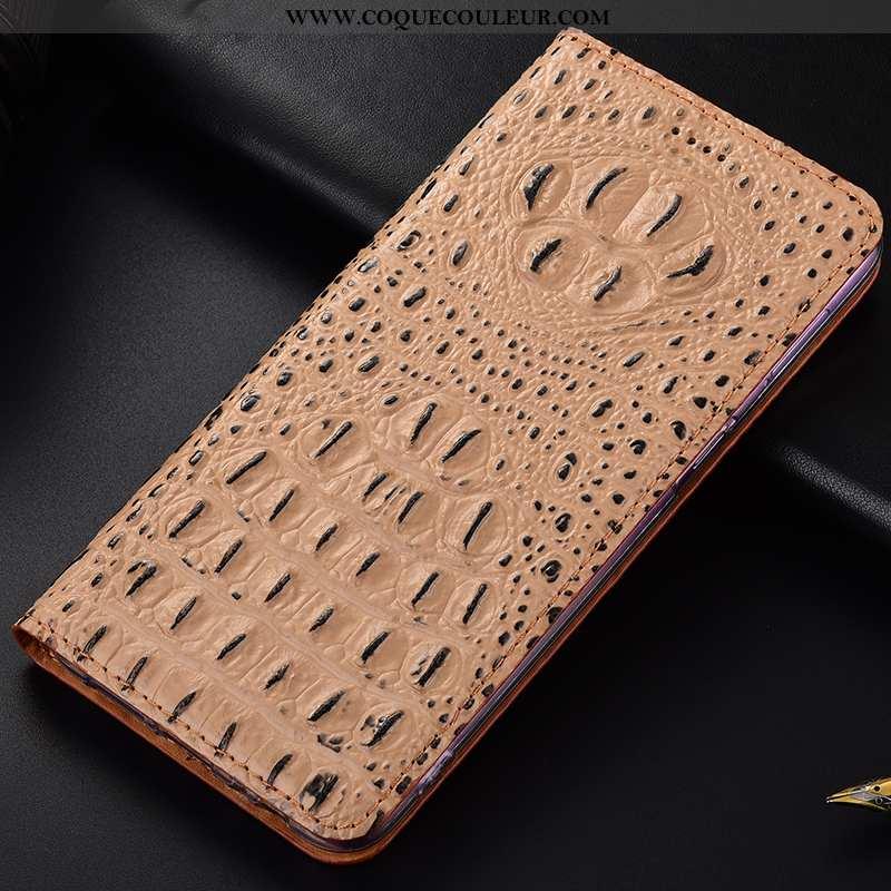 Coque Sony Xperia 1 Protection Étui Coque, Housse Sony Xperia 1 Cuir Véritable Crocodile Khaki