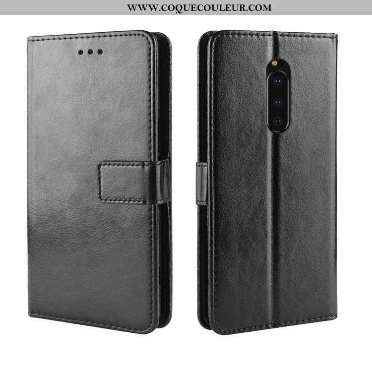 Étui Sony Xperia 1 Protection Noir Étui, Coque Sony Xperia 1 Portefeuille Tout Compris