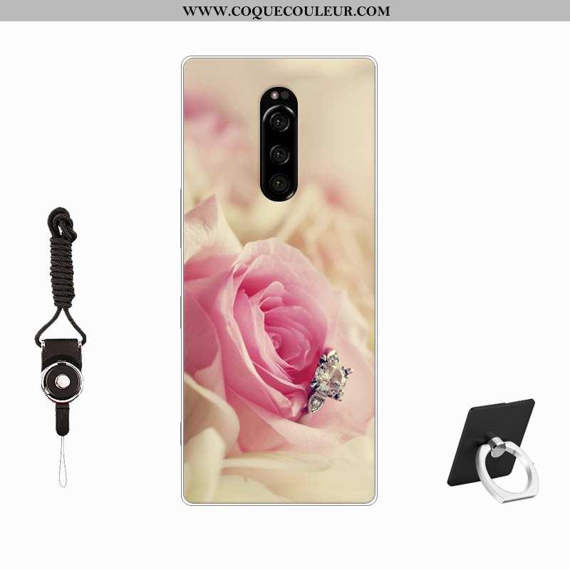 Étui Sony Xperia 1 Tendance Incassable Étui, Coque Sony Xperia 1 Fluide Doux Personnalisé Rose