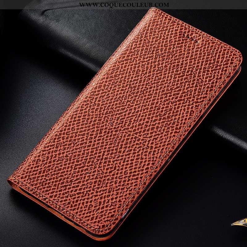 Étui Sony Xperia 1 Cuir Véritable Protection Coque, Coque Sony Xperia 1 Modèle Fleurie Mesh Marron