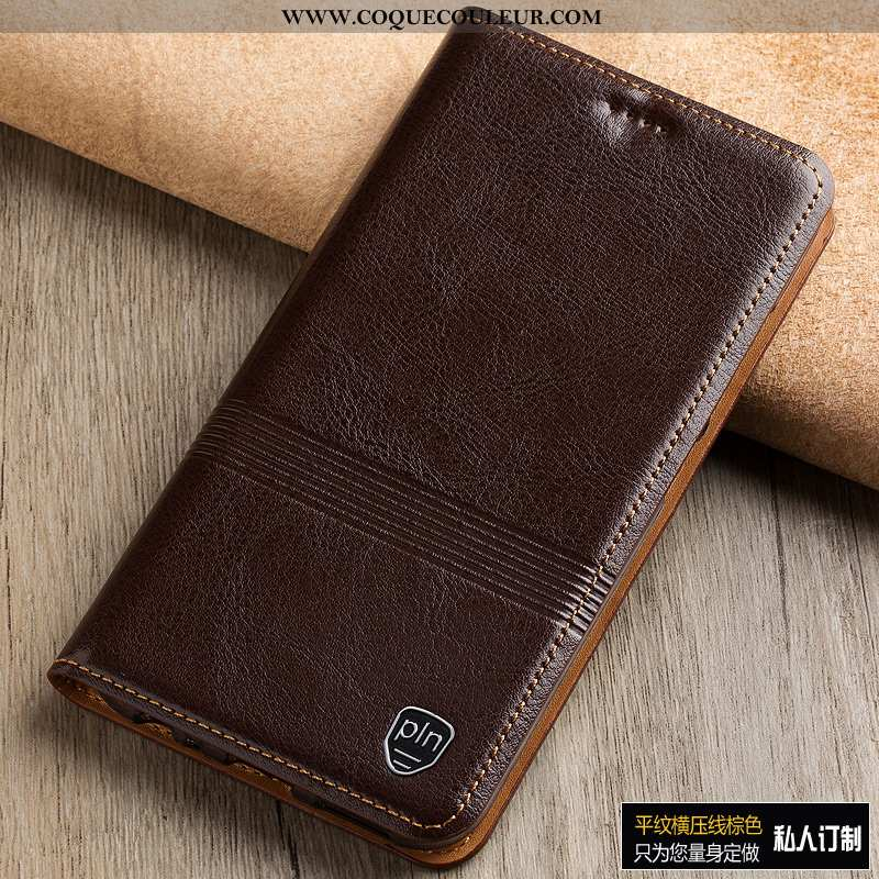 Housse Sony Xperia 1 Protection Téléphone Portable Coque, Étui Sony Xperia 1 Cuir Véritable Marron